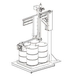 Pivot style manual drum and tote filler